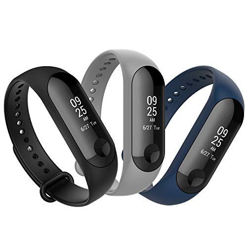 Anjoo [3 Pièces] Bracelet Compatible pour Xiaomi Mi Band 4/ 3, Remplacement Sangle Bracelet Accessoires en Silicone Compatible pour Xiaomi Mi Smart Band 3/ 4 (Marine Bleu, Gris, Noir)