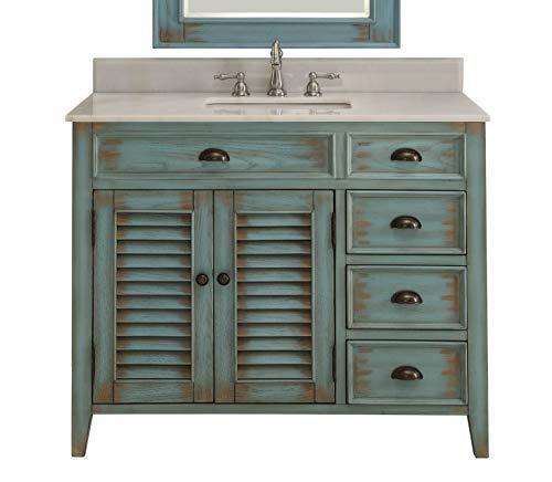 42' Benton Collection Distress Blue Abbeville Bathroom Sink Vanity CF-78888BU