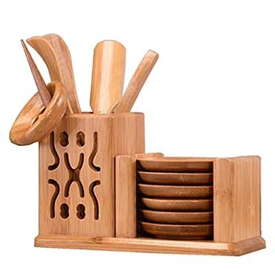 LeYin Bamboo Tea Tool Set, Chinese Gongfu Tea Ceremony Accessories, (Spoon, Needle, Clip, Scoop, Tray, Utensils Set)