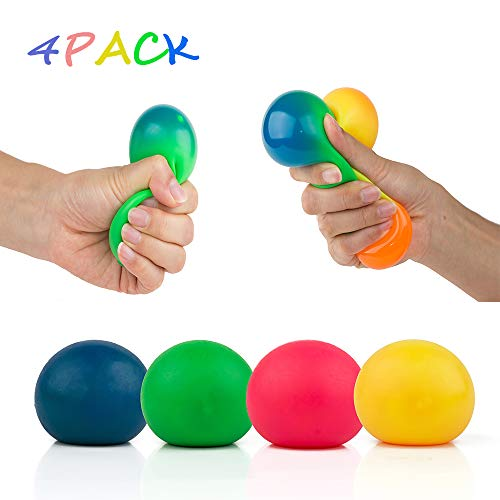 4Pcs Colorful Stress Squeeze Ball Toy - Relieve Stress Sensory Relief for Tension and Anxiety , Perfect for Adults to Relieve Stress , Children Toy