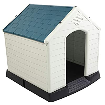 """Bonnlo Plastic Dog House, Pet Dog Kennel Water Resistant for Small Medium Sized Dogs with Door, Indoor & Outdoor Use (32.7"""" H)"""