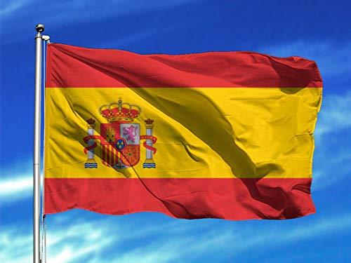 Oedim Bandera de España 85x150cm   Reforzada y con Pespuntes   Bandera con 2 Ojales Metálicos y Resistente al Agua