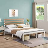 GreenForest Bed Frame Full Size with Wooden Headboard Platform Bed with Metal Support Slats NO- Noise Heavy Duty Bed Industrial Country Style with 10 Strong Legs, No Need Box Spring