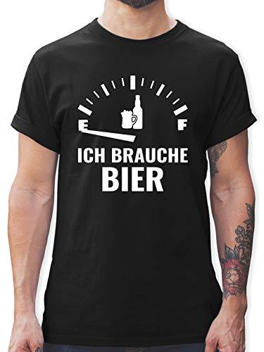 Sprüche - Ich Brauche Bier - weiß - XXL - Schwarz - t Shirts männer XXL - L190 - Tshirt Herren und Männer T-Shirts