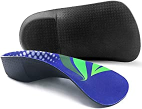 Orthotic Inserts 3/4 Length, High Arch Support Foot Insoles for Over-Pronation Plantar Fasciitis Flat Feet Heel Pain Relief Shoe Inserts for Running Sports Men and Women, S|Men's 5-6, Women's 6-7