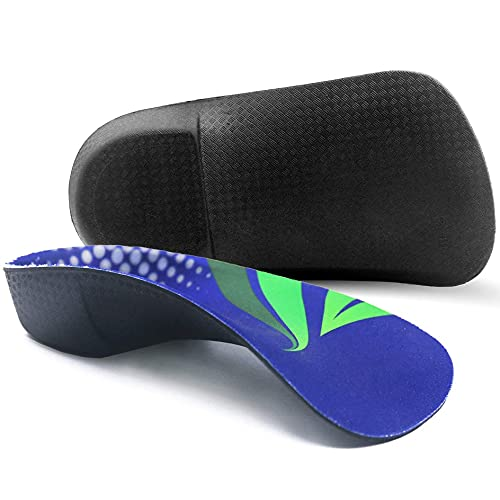 Orthotic Inserts 3/4 Length, High Arch Support Foot Insoles for Over-Pronation Plantar Fasciitis Flat Feet Heel Pain Relief Shoe Inserts for Running Sports Men Women, M|Men's 6.5-8.5, Women's 7.5-9.5