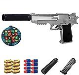 ZJIEX Juguetes educativos de Juego de simulación para niños, Pistola de Juguete clásica Desert Eagle Soft Bullet, tamaño 1: 1 con Cargador de expulsión y silenciador, Modelo de Guerra de Armas