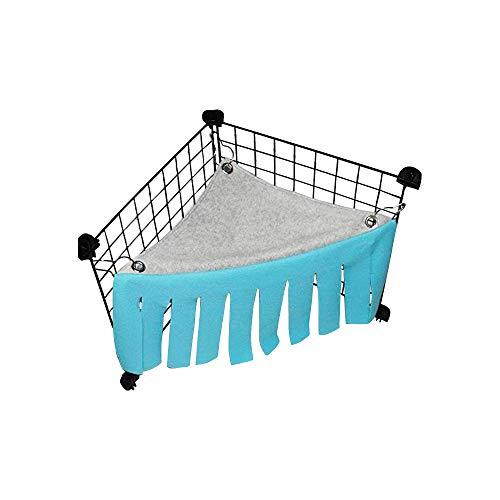 Kleines Haustier-Eckhaus Quaste Vorhang Versteck Hängematte für Kleintiere Hamster Ratten Igel Kaninchen Holländische Schweine Vögel Papageien Meerschweinchen Zelt (blau)