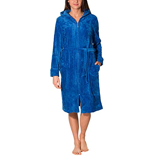 Aquarti Damen Bademantel mit Reißverschluss Lang, Farbe: Blau, Größe: 3XL