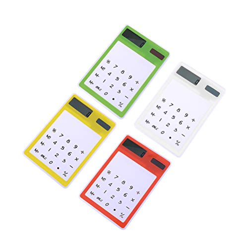 4pcs Calculadora solar Panel táctil transparente con diseño de pantalla LCD Suministros de oficina de la escuela (amarillo + verde + blanco + naranja)
