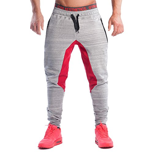 PHIBEE Hombres Pantalón Deportivo de Entrenamiento Fleece Gym Jogger Gris XL