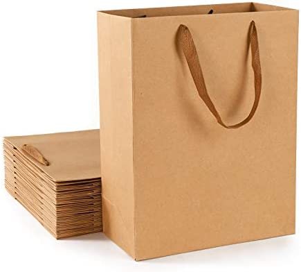 Shopping Bags with Handle Eusoar 20Pcs 11x5x14 Kraft Paper Bags with Ribbon Handles Kraft Craft product image