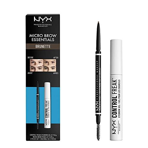 NYX Professional Makeup Brow Essentials Micro Brow Pencil & Control Freak Clear Brow Gel Duo Set, Tonalità: Brunette
