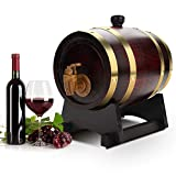 1.5L Whiskey Barrel Dispenser, Oak Aging Barrel with Wine Stand, Oak Barrel Wine Cabinet, Wooden Wine Barrel Bucket with Tap and Stand for Storage of Fine Wine, Brandy, Whiskey, Tequila