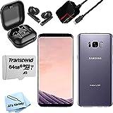 Samsung Galaxy S8+ Plus G955U 128GB (64GB Internal + 64 GB Transcend Micro SD Card) + Wireless Ear Pods - Accessory Bundle - Factory Unlocked - Gray (Renewed)