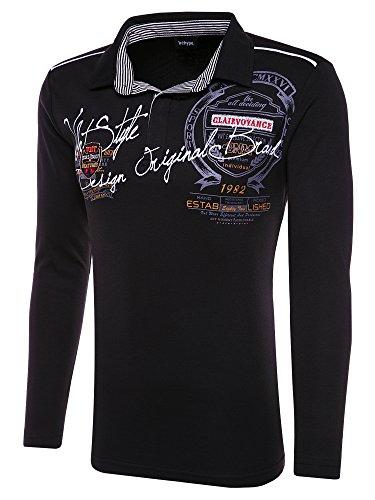 behype. Herren Poloshirt Deciding Langarm T-Shirt 20-0682 Schwarz 3XL