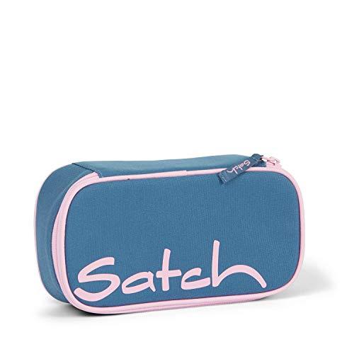 Satch Schlamperbox Deep Rose, Mäppchen mit extra viel Platz, Trennfach, Geodreieck, Blau