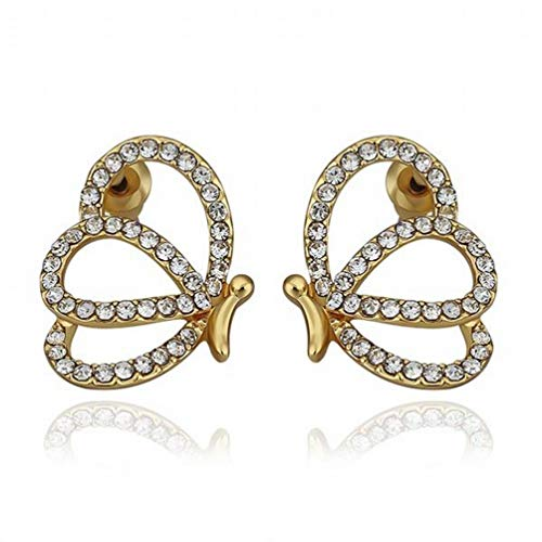 A Pair of Women Plated Gold Diamond Butterfly Stud Earrings/Stainless Steel/Anti-allergy/Silver Flashing/Diamonds/Small and Exquisite,Colour:Photo Color Bracelets Earrings Rings Necklaces