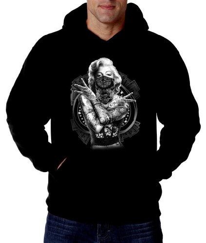 Marilyn Monroe Guns Gangster Black Bandana Hoodie Sweatshirt, Small