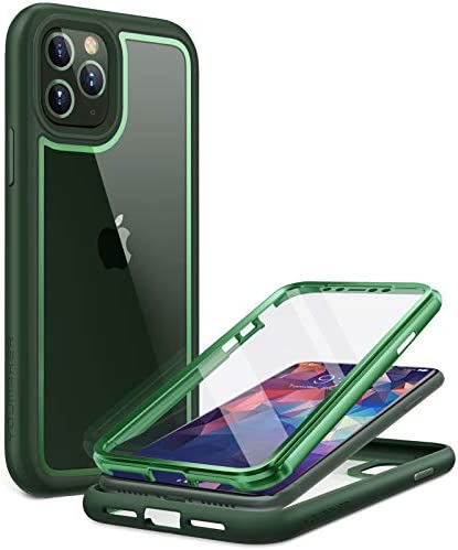YOUMAKER [2021 Upgraded] Aegis Designed for iPhone 11 Pro Case, Full-Body with Built-in Screen Protector Rugged Clear Case for iphone 11 Pro 5.8 Inch – Green