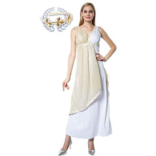 EraSpooky Disfraz de Diosa Griega Antigua para Mujer Toga Traje de Cosplay Vestido de Fiesta de Halloween para Adulto