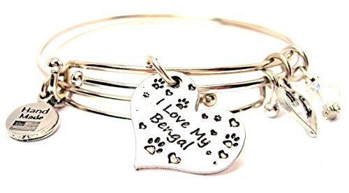 ChubbyChicoCharms I Love My Bengal Cat Expandable Wire Bangles (Set of 2 Bracelets), 2.5'
