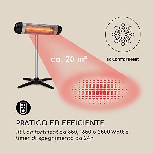 blumfeldt Rising Sun - Irradiatore di Calore, Riscaldamento ad Infrarossi, Elemento Riscaldante in Carbonio, Altezza Regolabile, Impermeabile IP34, Timer, 3 Impostazioni, Telecomando