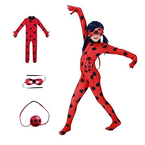 KLCH Ladybug Cosplay Disfraces Fiesta de Carnaval Navidad Christmas Halloween, Mono de Mariquita para niños (S(5-6 años))