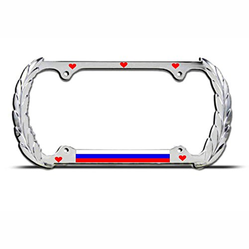 Russia Heavy Duty Metal License Plate Frame Russian Flag Tag Border for Cadillac Perfect for Men Women Car garadge Decor