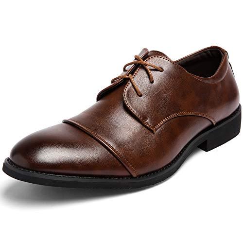 [Persyuair] 革靴 メンズ ビジネスシューズ 黒 茶 歩きやすい 防水 ウォーキング スニーカー 通気性 高級レザー 防臭 軽量 防滑 走れる 大きいサイズ 24㎝~29㎝ ストレートチップ 美脚 外羽根 冠婚葬祭 通勤 喪服 27.0 cm 茶