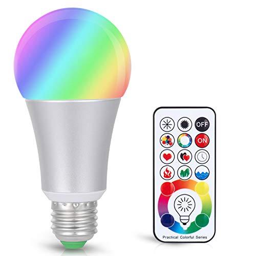 Adoric LED Glühbirne, Dimmbare E26/E27 Light Bulb, 10W RGBW Farbwechsel Glühbirne mit Fernbedienung,120 Farben, dekorative Leuchten für Halloween Weihnachtsdeko Partys Hochzeit Home Décor