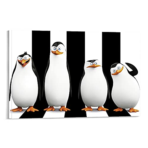 Hitecera Movies Penguins of Madagascar Poster Decorative Painting Canvas Wall Art Living Room Posters Bedroom Painting 16x24inch(40x60cm)