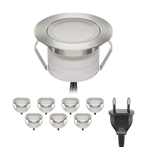 ledscom.de LED Boden-Einbauleuchte BIMI für außen warm-weiß, je 50lm, IP67, 45mm Ø 8er Set