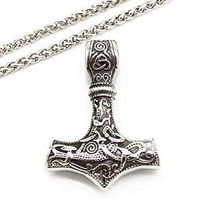 Thors Hammer Halskette Kette Anhänger Modeschmuck Mjölnir mit Anhänger aus Edelstahllegirung als Geschenk für ihren Liebsten zum Vatertag Geburtstag Jahrestag Weihnachten Hochzeitstag Valentinstag