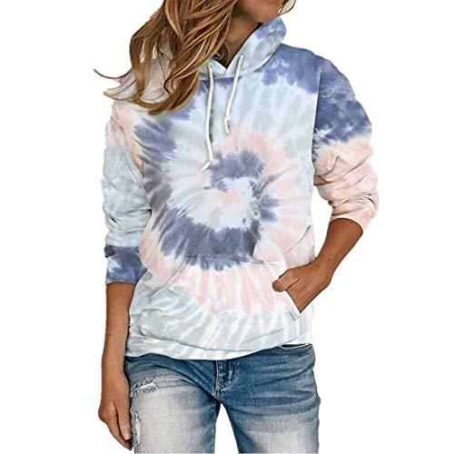 Hoodie Damen Sweatshirt Damen Sexy Elegant All-Match Kordelzug Mode Casual Loose Damen Tops Herbst Neues Atmungsaktiv Känguru-Tasche Langarm Damen Tops E-Blue 5XL