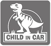 imoninn CHILD in car ステッカー 【マグネットタイプ】 No.71 ティラノサウルスさん (シルバーメタリック)