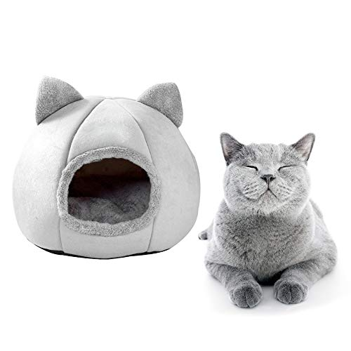 YUEBAOBEI Cat Bed House, Cat Tent Bed, Comfortable Triangle Cat Igloo Bed Pet Tent House with Anti Slip Bottom Semi-Enclosed Pet Cat Dog Sleeping Tent House,Gray,M