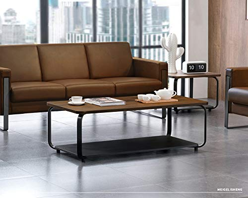 blf Furniture 47.6' Modern Coffee Table, End Table, Sofa Table with Black Powder-Coating Steel Frame, Walnut Wood Finish, Brown