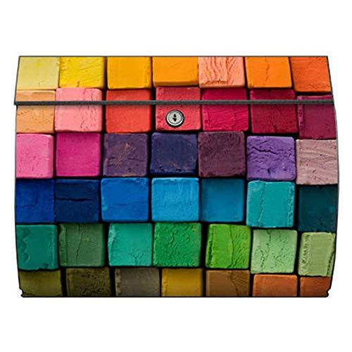 motivX-Ideenwerkstatt Briefkasten Swing Wandbriefkasten mit Motiv bunte Kreide