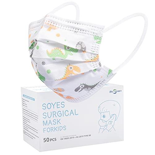 SOYES Kinder Mundschutz TYP IIR 3 Lagig Einwegmasken Kinder - 50 Stück CE Zertifizierte Einweg-Gesichtsmaske - Mund Nasen Schutzmaske Kindermasken Junge Mädchen (Dinosaurier)