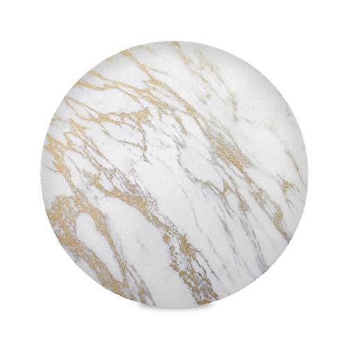 Whtie Granit Marmor Kupfer Kratzer Platzsets Rund Abwaschbar Tischsets 1er/4er/6er Set Hitzebeständig und rutschfest Platzset für Küche Party Esstisch 39cm