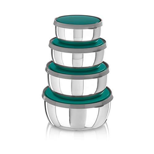 GOURMETmaxx 4er Schüsselset mit Deckel Edelstahl | Aufbewahrungsboxen mit Deckel für Salat, Obst, Brot und mehr | Schüssel spülmaschinengeeignet und gefriertauglich