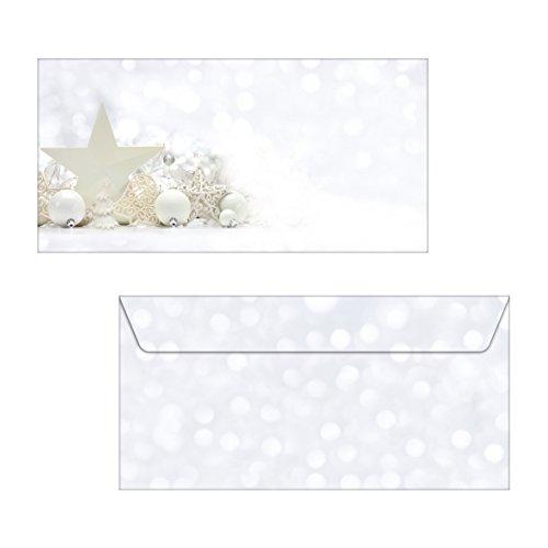 SIGEL DU041 Briefumschläge Weihnachten, White Stars, DIN lang, 25 Stück
