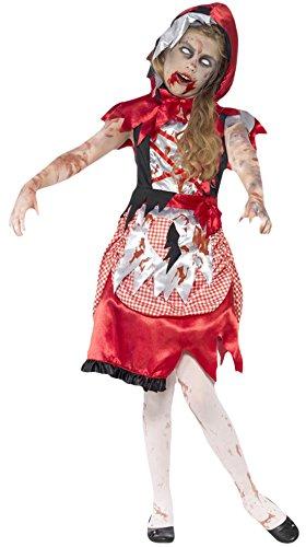 Halloweenia - Mädchen Karneval Halloween Kostüm Zombie Rotkäppchen, Mehrfarbig, Größe 122-134, 7-9 Jahre