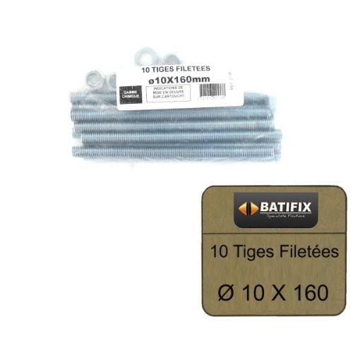 Pack de 10 Tiges Filetées M10 BATIFIX diamètre 10 x 160mm