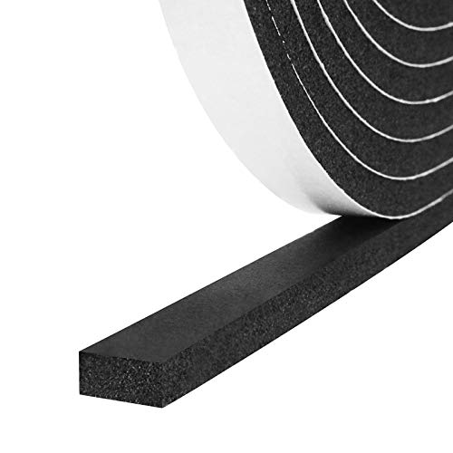 Foam Insulation Tape Self Adhesive,Weather Stripping for Doors and Windows,Sound Proof Soundproofing Door Seal,Weatherstrip,Cooling,Air Conditioning Seal Strip (1/2In x 1/4In x 33Ft, Black)