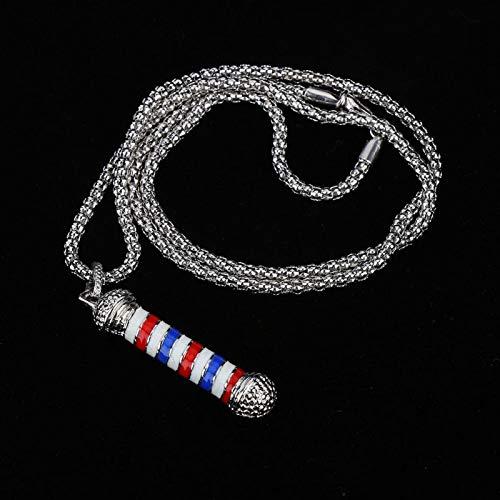 Uxsiya Barbershop Jewelry Barber Shop Halskette Zubehör Werkzeug für Friseure für Männer(Silver)
