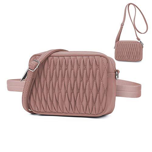 Wind Took Mode Umhängetasche Bauchtasche 2 in 1 Damen Klein Tasche Gürteltasche Schultertasche Handtasche für Reisen Partys Sports Misty Rose