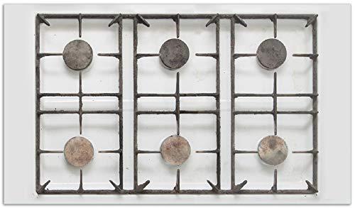 Wallario Herdabdeckplatte/Spritzschutz aus Glas, 1-teilig, 90x52cm, für Ceran- und Induktionsherde, Alter Gasherd, ungeputzt und dreckig