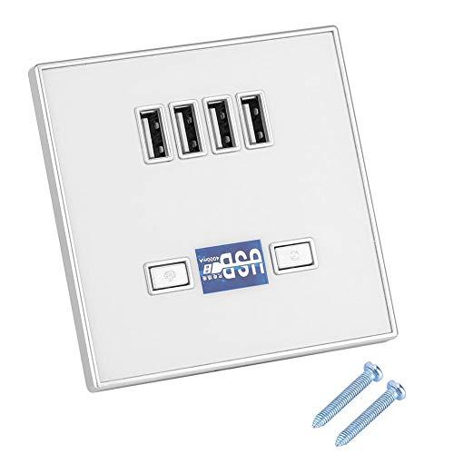 Con toma USB 4 puertos Cargador Toma de pared PC Exterior a prueba de fuego Toma de cargador USB, Cargador Toma(36V white)